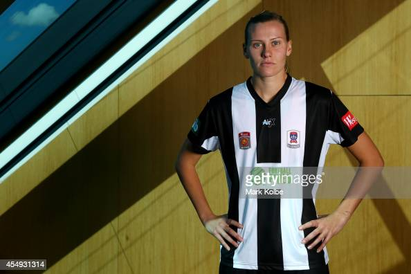 Emily van Egmond of Newcastle Jets poses during the WLeague season launch at the Westfield Offices on September 8 2014 in Sydney Australia