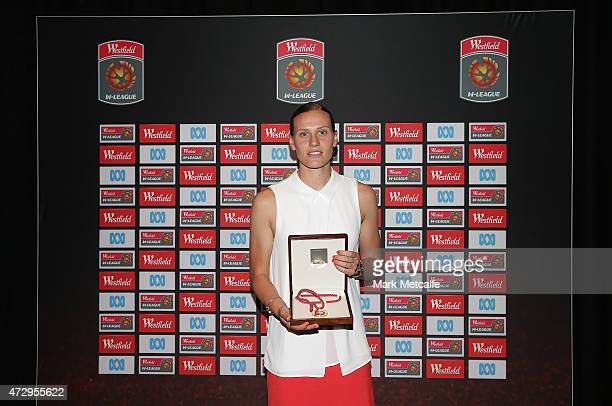 Emily van Egmond of Newcastle Jets poses with the Julie Dolan Medal as the Westfield WLeague Player of the Year during the ALeague WLeague 2014/15...