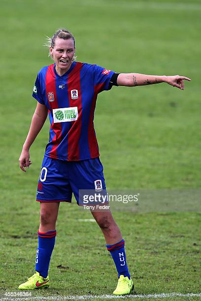 Emily Van Egmond of the Jets calls to a team mate during the round one WLeague match between the Newcastle Jets and the Melbourne Victory at Magic...