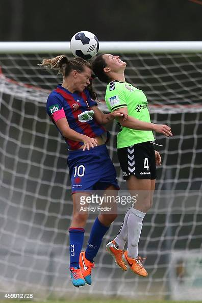 Emily van Egmond of the Jets contests the header against Kendall Fletcher of Canberra during the round 10 WLeague match between Newcastle and...