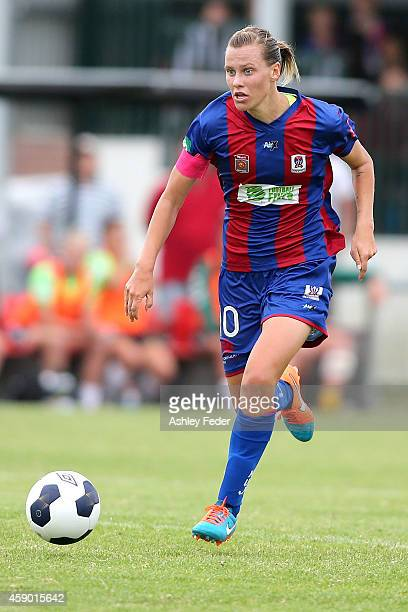 Emily Van Egmond of the Jets controls the ball during the round 10 WLeague match between Newcastle and Canberra at Jack McLaughlan Oval on November...