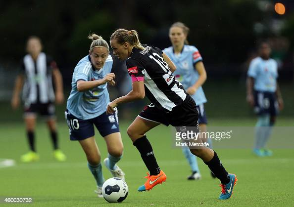 Emily van Egmond of the Jets controls the ball during the round 12 WLeague match between Sydney FC and Newcastle Jets at Lambert Park on December 6...