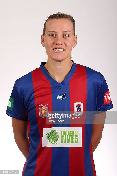 Emily van Egmond of the Jets during the Newcastle Jets WLeague season headshots session at the NNSWF Offices on September 9 2014 in Newcastle...