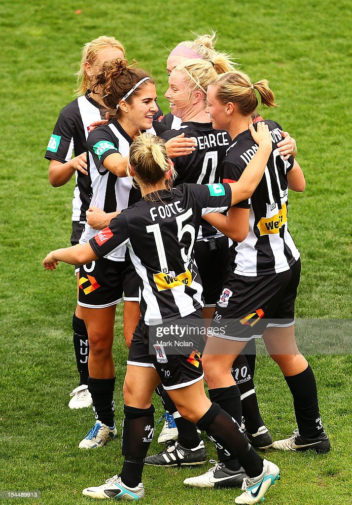 Emily Van Egmond of the Jets is congratulated after scoring a goal during the round one WLeague match between Sydney FC and the Newcastle Jets at...