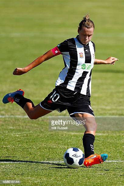 Emily Van Egmond of the Jets kicks the ball during the round nine WLeague match between Perth and Newcastle at Ashfield Sports Club on November 8...