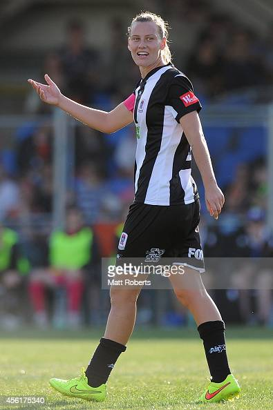 Emily Van Egmond of the Jets reacts towards the referee during the round three WLeague match between the Brisbane Roar and the Newcastle Jets at...