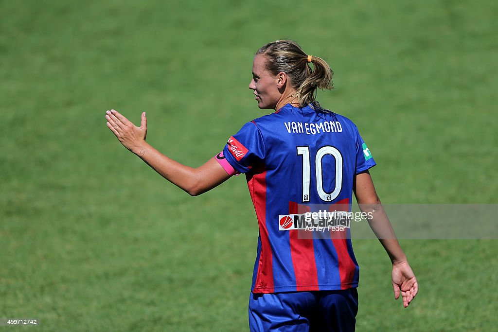 Emily van Egmond of the Jets signals to her team during the round eight WLeague match between Newcastle Jets and Adelaide United at Jack McLaughlan...