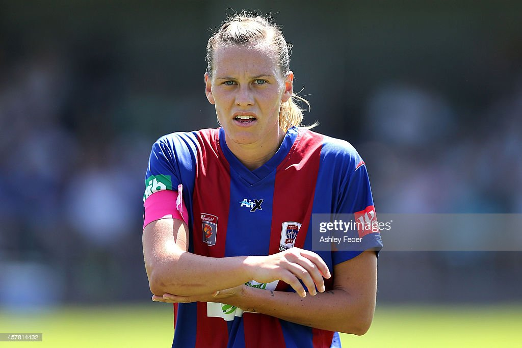 Emily van Egmond of the Jets watches on during the round seven WLeague match between Newcastle and Brisbane at Magic Park on October 25 2014 in...