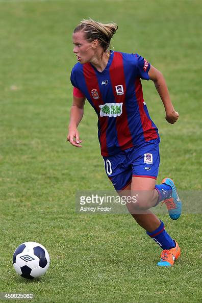 Emily van Egmond of the Jetsin action during the round 10 WLeague match between Newcastle and Canberra at Jack McLaughlan Oval on November 15 2014 in...