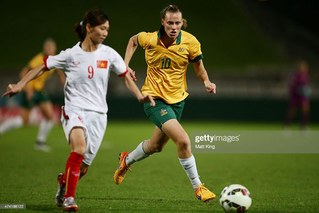Emily van Egmond of the Matildas competes for the ball against Tran Thi Thuy Trang of Vietnam during the international women's friendly match between...
