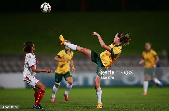 Emily van Egmond of the Matildas controls the ball during the international women's friendly match between the Australian Matildas and Vietnam at WIN...