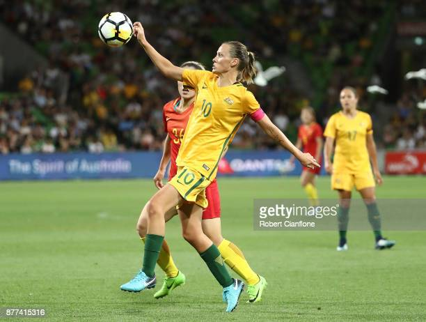 Emily van Egmond of the Matildas looks to get the ball during the Women's International match between the Australian Matildas and China PR at AAMI...