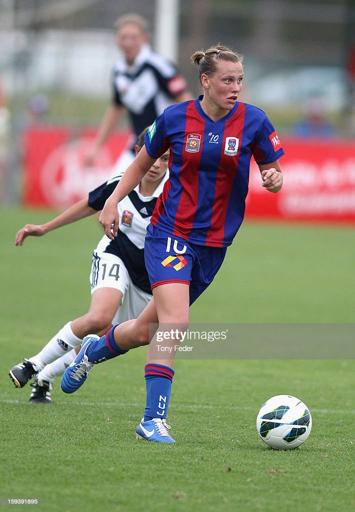 Emily Van Egmond of the Newcastle Jets controls the ball during the round 12 W-League match between the Newcastle Jets and the Melbourne Victory at Wanderers Oval on January 13, 2013 in Newcastle, Australia.
