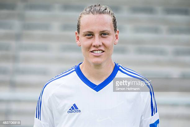 Emily Van Egmond poses during 1 FFC Frankfurt Team Presentation at Stadion am Brentanobad on August 11 2015 in Frankfurt am Main Germany