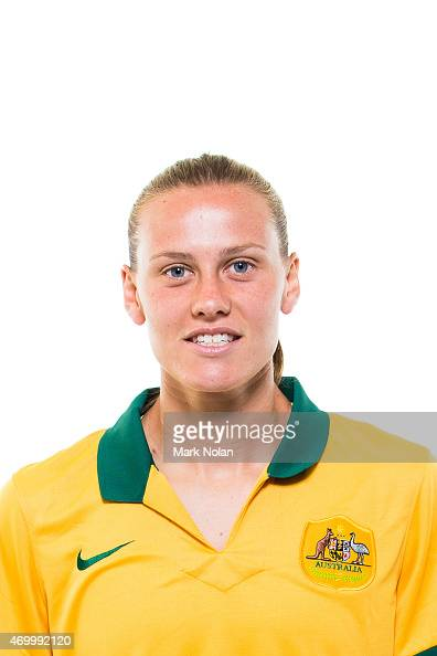 Emily van Egmond poses during an Australian Matildas headshots session at AIS on February 20 2015 in Canberra Australia