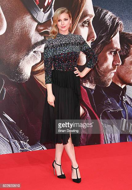 Emily VanCamp arrives at the Berlin premiere of the film 'The First Avenger Civil War' at Sony Centre on April 21 2016 in Berlin Germany