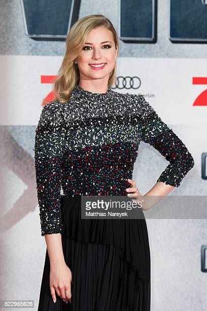 Emily VanCamp attends the 'The First Avenger Civil' War Berlin Premiere at Sony Centre on April 21 2016 in Berlin Germany