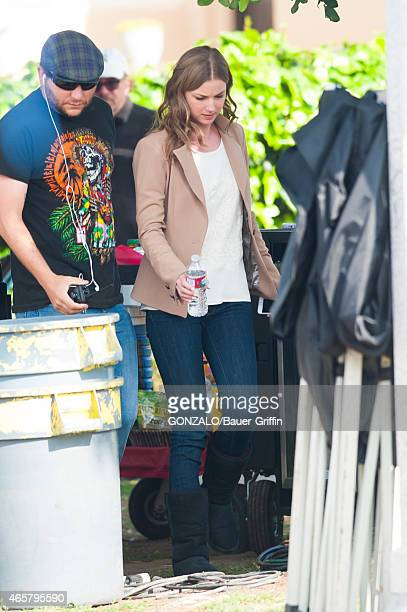 Emily VanCamp is seen on set filming for 'Revenge' on March 10 2015 in Los Angeles California