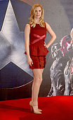 Emily VanCamp poses at a photocall for 'Captain America Civil War' at The Corinthia Hotel London on April 25 2016 in London England