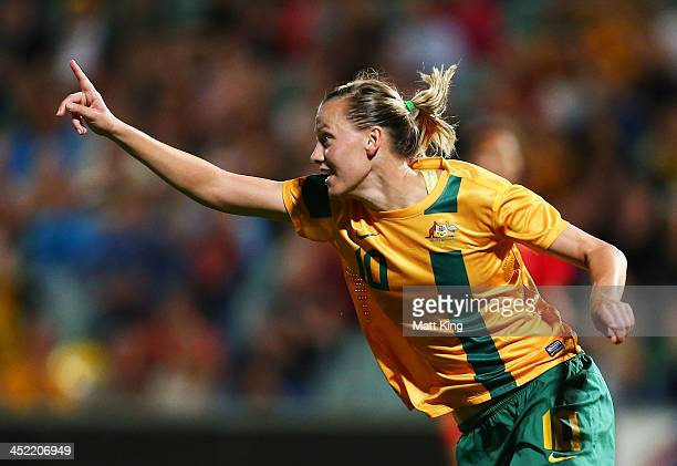 Emily VanEgmond of the Matildas celebrates scoring the second goal during the Women's International Friendly match between the Australian Matildas...