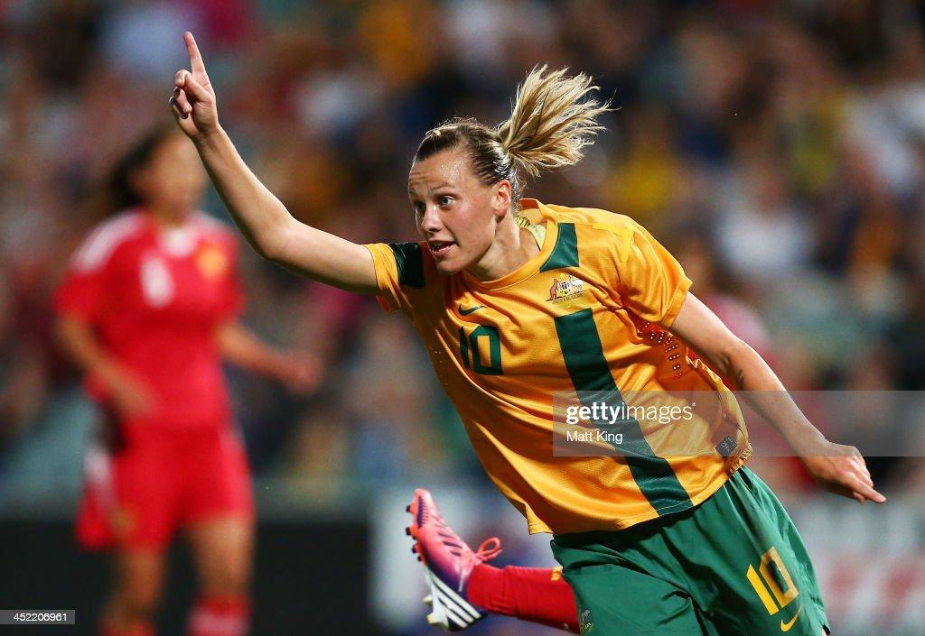 Emily VanEgmond of the Matildas celebrates scoring the second goal during the Women's International Friendly match between the Australian Matildas...