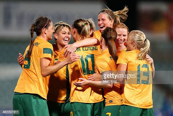 Emily VanEgmond of the Matildas celebrates with team mates after scoring the second goal during the Women's International Friendly match between the...