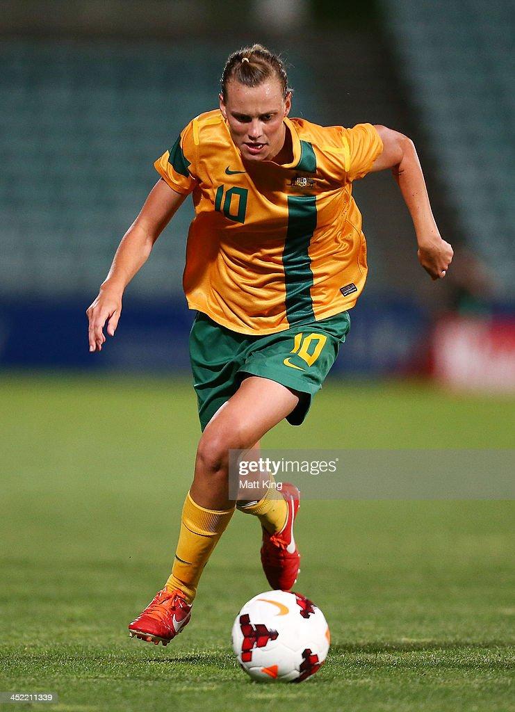 Emily VanEgmond of the Matildas controls the ball during the Women's International Friendly match between the Australian Matildas and China PR at...