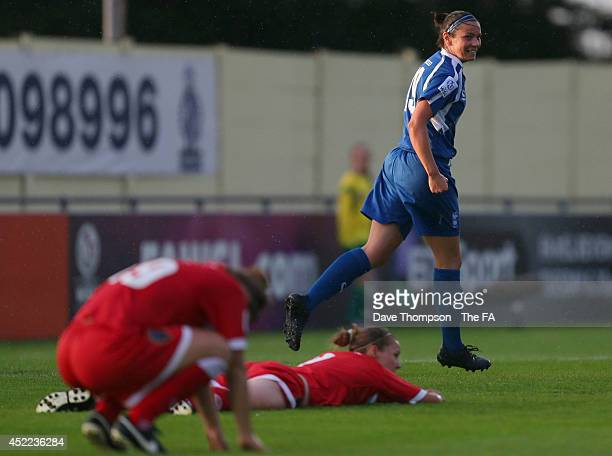 Emily Westwood of Birmingham City Ladies celebrates scoring her sides second goal of the match during the WSL fixture between Birmingham City Ladies...