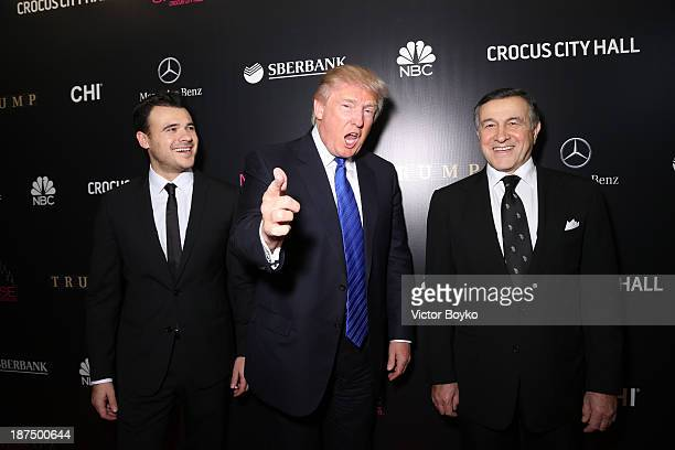 Emin Agalarov Donald Trump and Aras Agalarov attend the red carpet at Miss Universe Pageant Competition 2013 on November 9 2013 in Moscow Russia