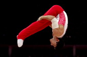 Emin Garibov of Russia competes on the parallel bars during the Artistic Gymnastics Men's Parallel Bars final on Day 11 of the London 2012 Olympic...