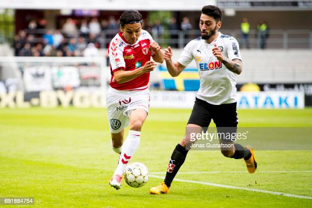 Emin Nouri of Kalmar FF and Nahir Besara of Orebro SK competes for the ball during the Allsvenskan match between Kalmar FF and Orebro SK at...