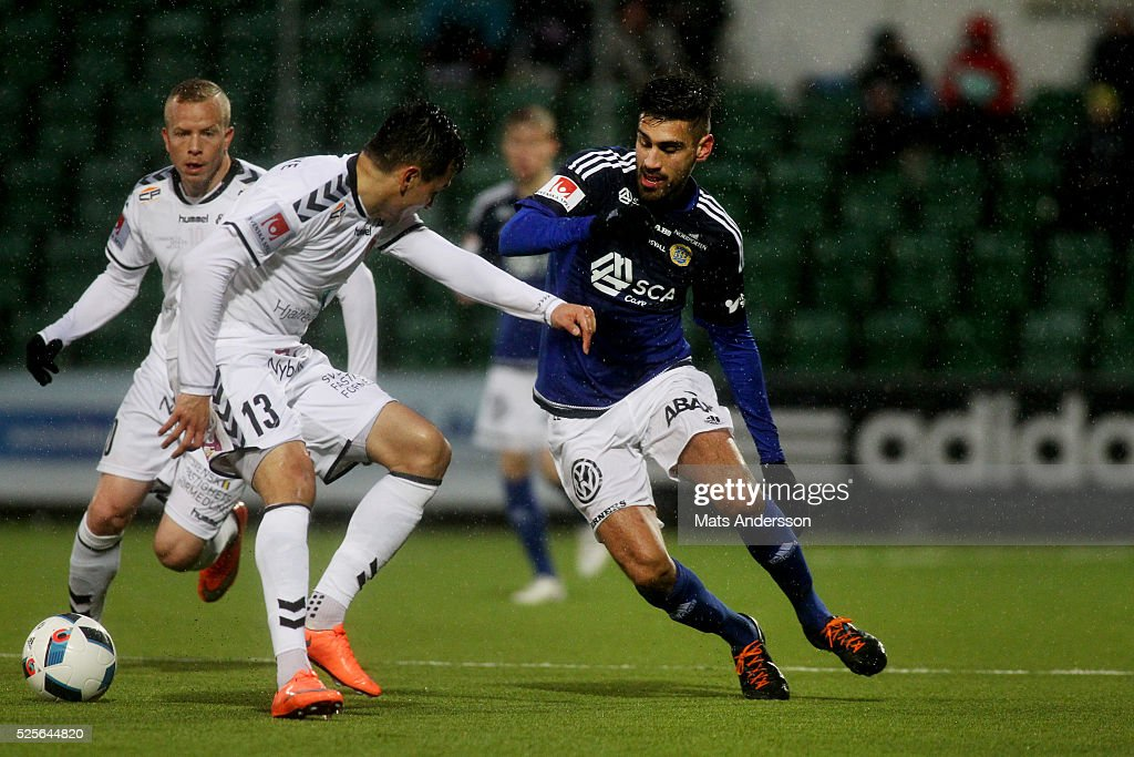Emin Nouri of Kalmar FF and Stefan Silva of GIF Sundsvall competes for the ball during the Allsvenskan match between GIF Sundsvall and Kalmar FF at Norrporten Arena on April 28, 2016 in Sundsvall, Sweden.