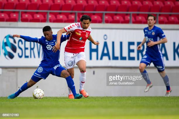 Emin Nouri of Kalmar FF competes for the ball during the allsvenskan match against Kalmar FF and Sundsvall at Guldfageln Arena on May 27 2017 in...