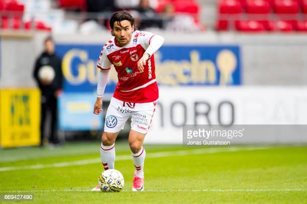 Emin Nouri of Kalmar FF during the Allsvenskan match between Kalmar FF and Jonkopings Sodra IF at Guldfageln Arena on April 17 2017 in Kalmar Sweden