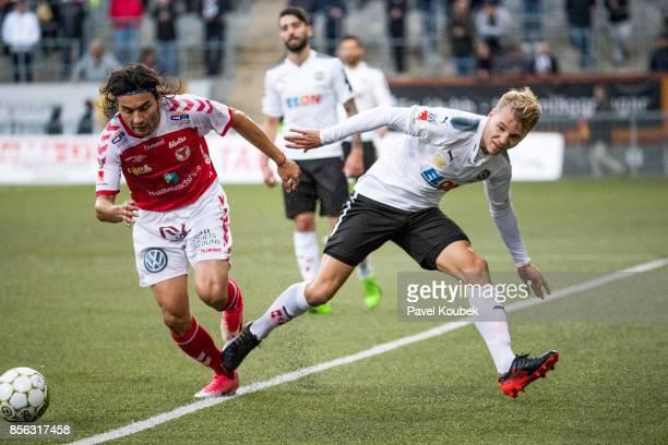 Emin Nouri of Kalmar FF Sebastian Ring of Orebro SK during the Allsvenskan match between Orebro SK and Kalmar FF at Behrn Arena on October 1 2017 in...