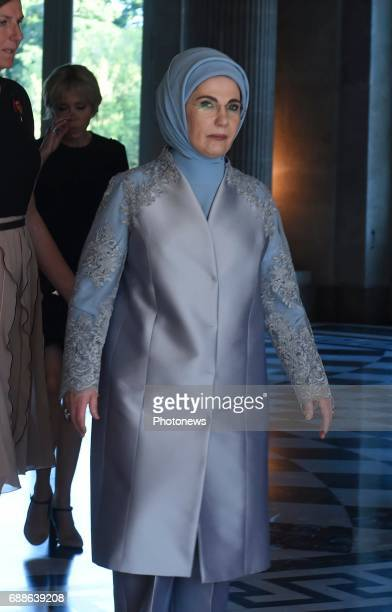 BRUSSELS BELGIUM MAY Emine Erdogan during the official reception for the partners of the NATO chiefs at the Royal castle of Laeken