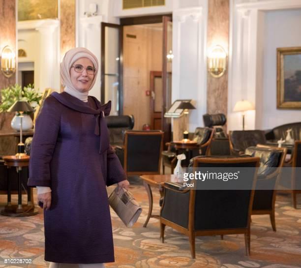 Emine Erdogan wife of Recep Tayyip Erdogan President of the Republic of Turkey walks through the lobby of the Atlantic Hotel as she takes part in the...