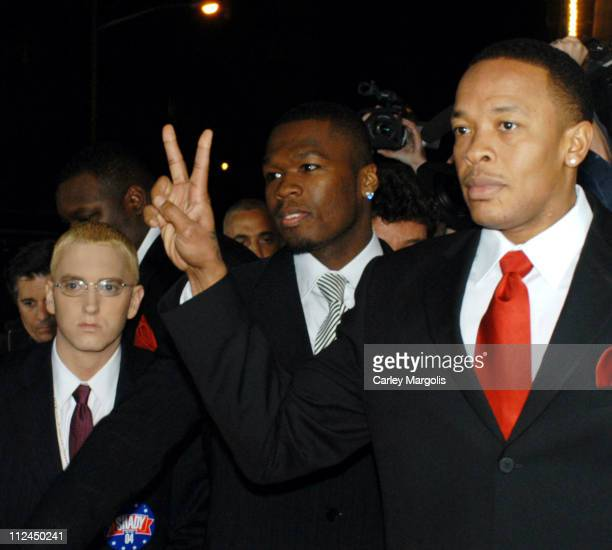 Eminem 50 Cent and Dr Dre during The Shady National Convention Eminem Launches New Sirius Radio Channel 'Shade 45' at Roseland Ballroom in New York...