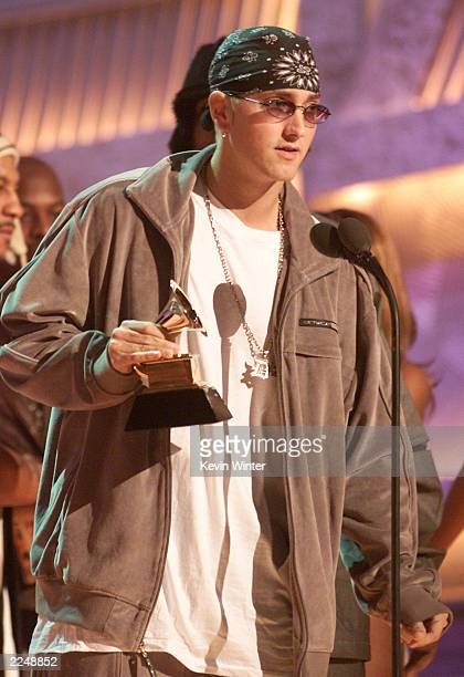 Eminem accepts a Grammy for Best Rap Album at the 43rd Annual Grammy Awards at Staples Center Los Angeles Ca 2/21/01