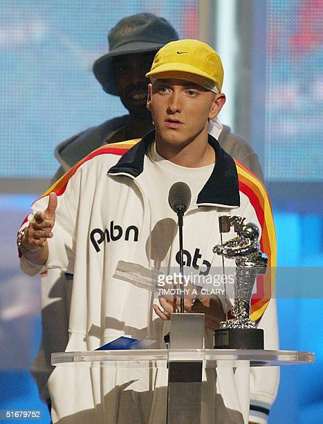Eminem accepts the Award for the Best Male Video at the MTV Video Music Awards 29 August 2002 in New York AFP PHOTO/TIMOTHY A CLARY