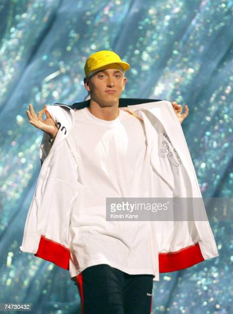 Eminem accepts the Best Video of the Year award at the 2002 MTV Video Music Awards at the Radio City Music Hall in New York City New York