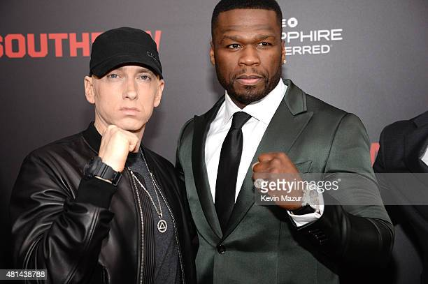 Eminem and 50 Cent attend the 'Southpaw' New York premiere at AMC Loews Lincoln Square on July 20 2015 in New York City
