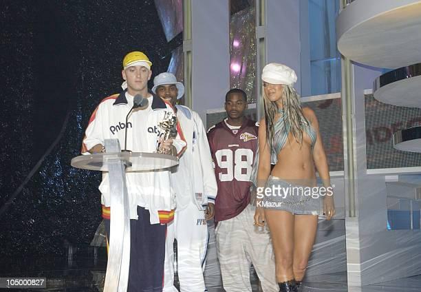 Eminem and Christina Aguilera during 2002 MTV Video Music Awards Show at Radio City Music Hall in New York City New York United States