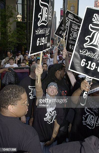 Eminem and D12 Live on MTV TRL during D12 Live on MTV's 'TRL' July 7 2001 at MTV Studios in New York City New York United States