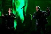 Eminem and Dr Dre perform onstage during The 53rd Annual GRAMMY Awards held at Staples Center on February 13 2011 in Los Angeles California