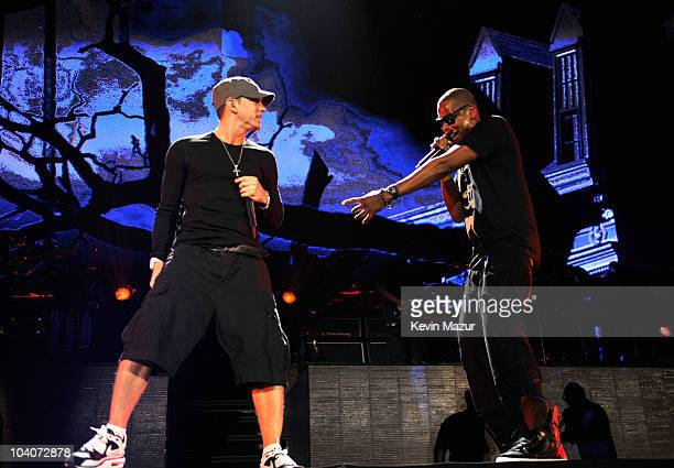 Eminem and JayZ perform at Yankee Stadium on September 13 2010 in New York City