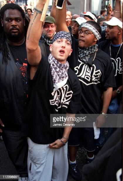 Eminem and Member of D12 during Eminem Marches in Times Square to Promote his New Group 'D12' at Times Square in New York City New York United States