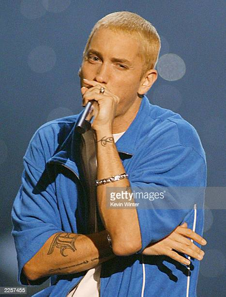 Eminem at the 2002 MTV Movie Awards held at the Shrine Theatre in Los Angeles Ca June 1 2002