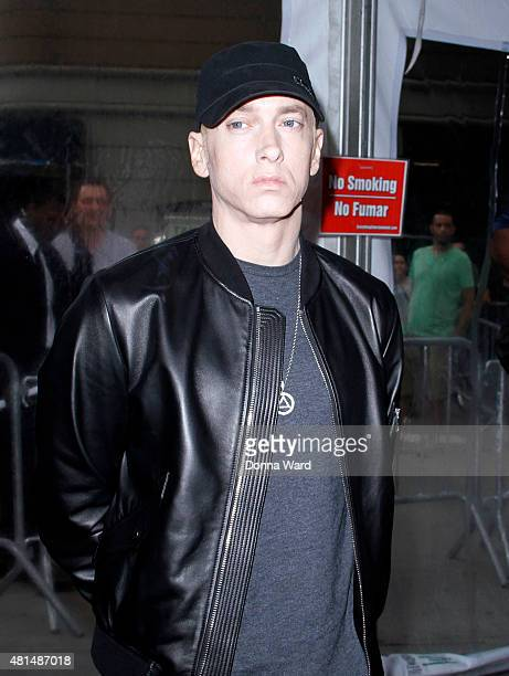 Eminem attends the 'Southpaw' New York premiere at AMC Loews Lincoln Square on July 20 2015 in New York City