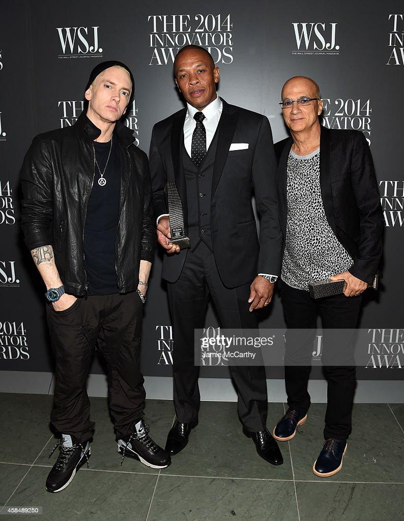 Eminem, Dr. Dre and Jimmy Iovine attend WSJ. Magazine 2014 Innovator Awards at Museum of Modern Art on November 5, 2014 in New York City.